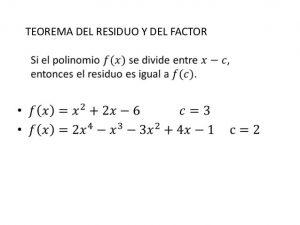 Teorema del factor y del residuo