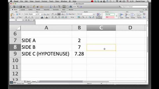 hipotenusa en excel